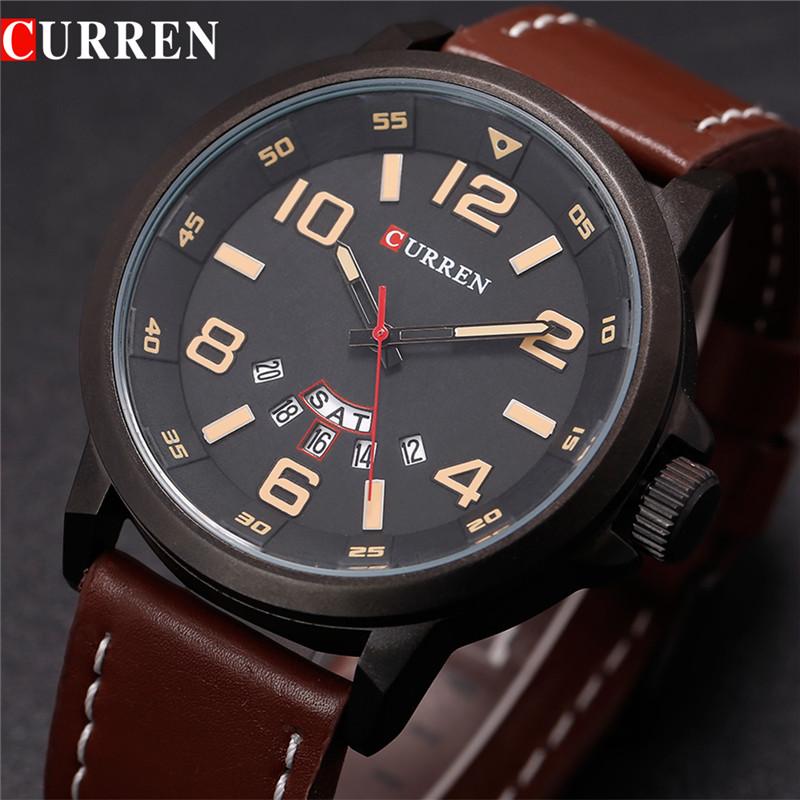 Prix pour Curren 8240 marque de luxe montre à quartz Occasionnel De Mode En Cuir montres reloj masculino hommes montre Sport Montres