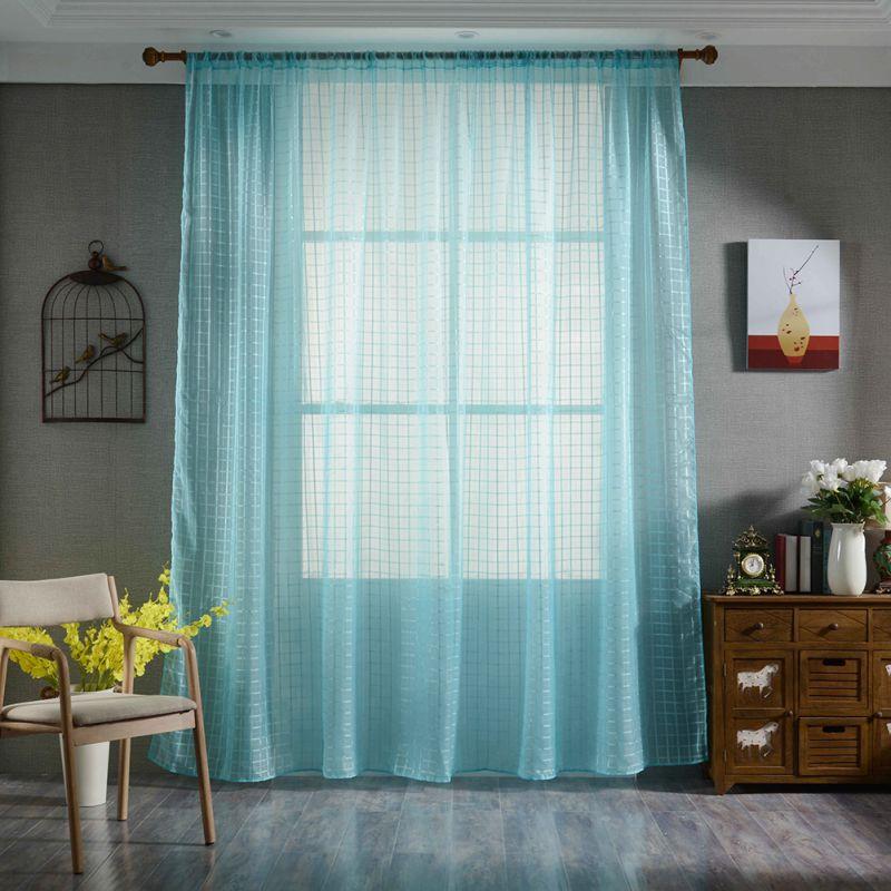 Sheer Вуаль Тюль Шторы одноцветное Цвет Спальня окна прозрачной трубке Шторы для гостиной обработки окна домашний текстиль