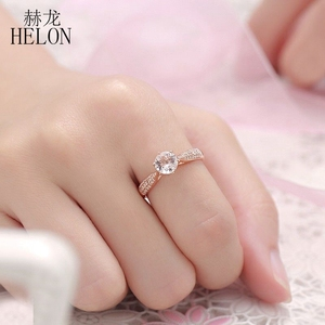Image 5 - HELON Round Cut 6mm 0.59ct Elegant Morganite Ring Solid 14K Rose Gold Real Diamonds Ring Engagement Gemstone Unique Jewelry Ring