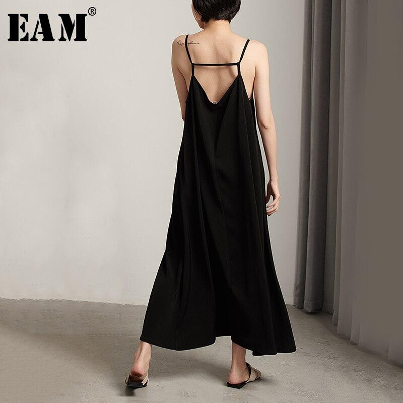 [EAM] 2020 New Spring Summer V-Neck Sleeveless Cross Bandage Backless Loose Long Temperament Dress Women Fashion Tide JW174