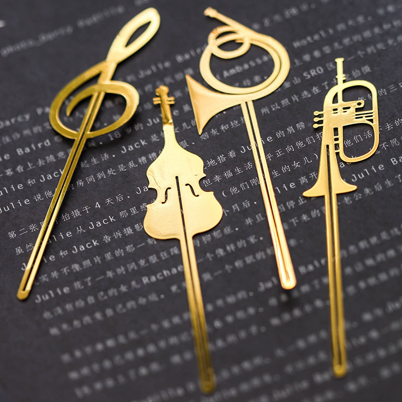Instrument Style Bookmarks Music Note Book Mark Gold Plated Stationery Office School Supplies Marcador De Livros