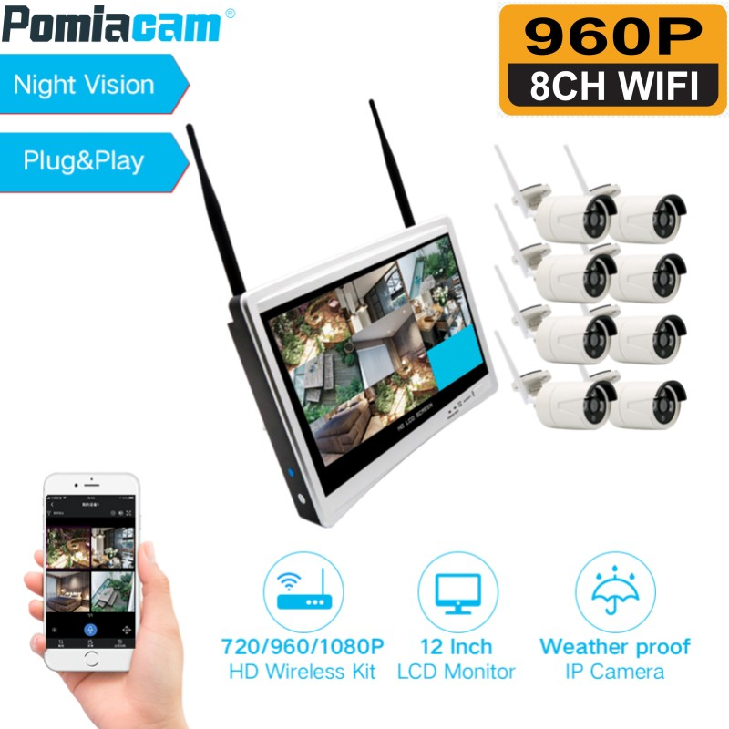8CH 960P Wireless NVR CCTV Security System 12\