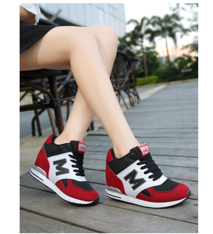 Height Increasing Wedges Shoes Woman Fashion Spring Lace Up High Top Women Casual Shoes Cow Suede Women\'s Vulcanize Shoes ZD36 (13)