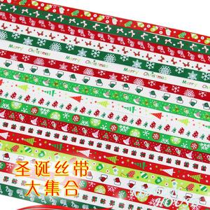 Luvas de árvore de natal, laços de cetim estampados 10mm 2 metros/lote para decoração de festa de natal, caixa de presente envoltório
