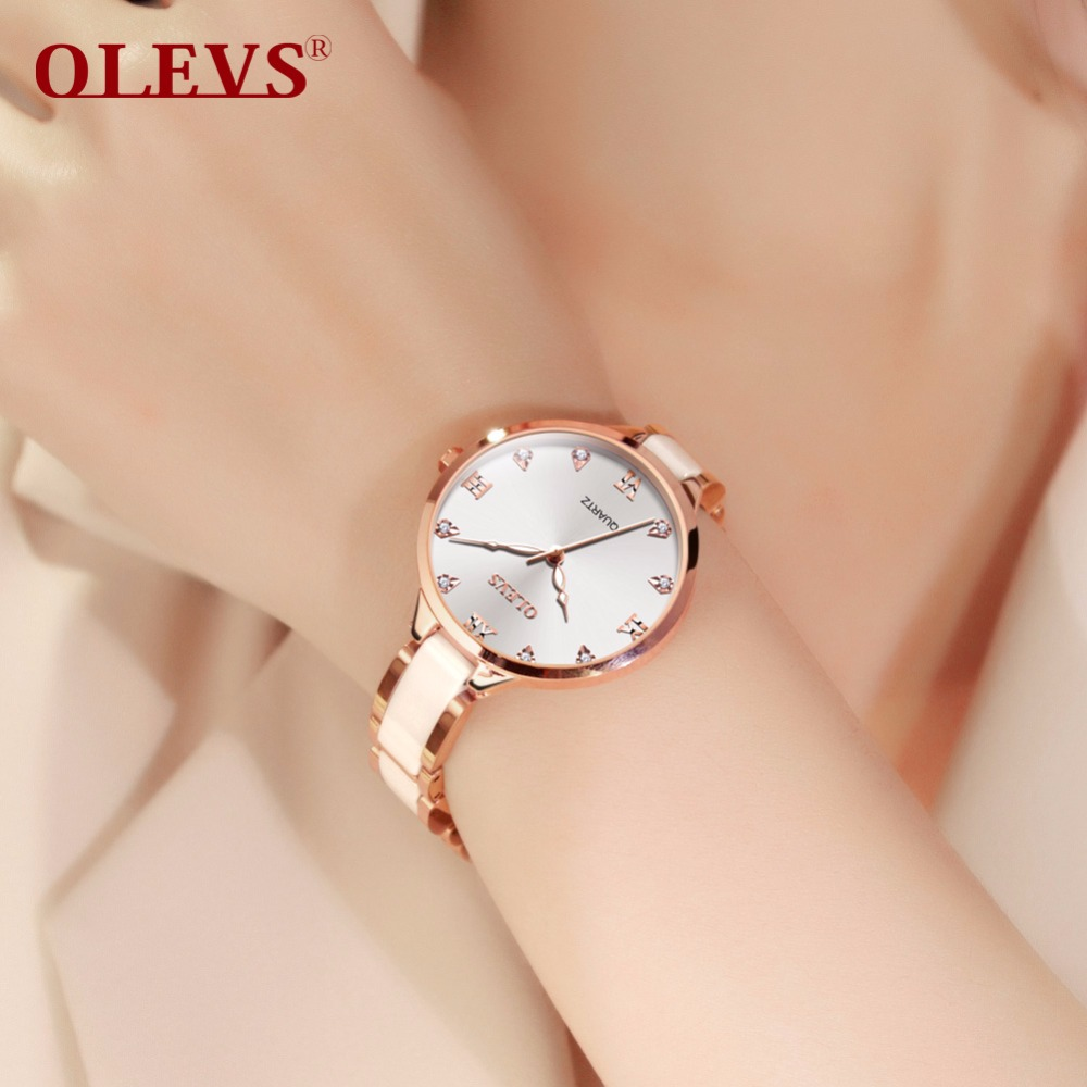 Fashion Top Brand OLEVS women watches bayan kol saati Quartz Rhinestone Dress Ladies Watch waterproof Clock montre femme relogio simple style mesh steel women watches top brand luxury rose gold black ladies quartz hours woman dress watch bayan kol saati