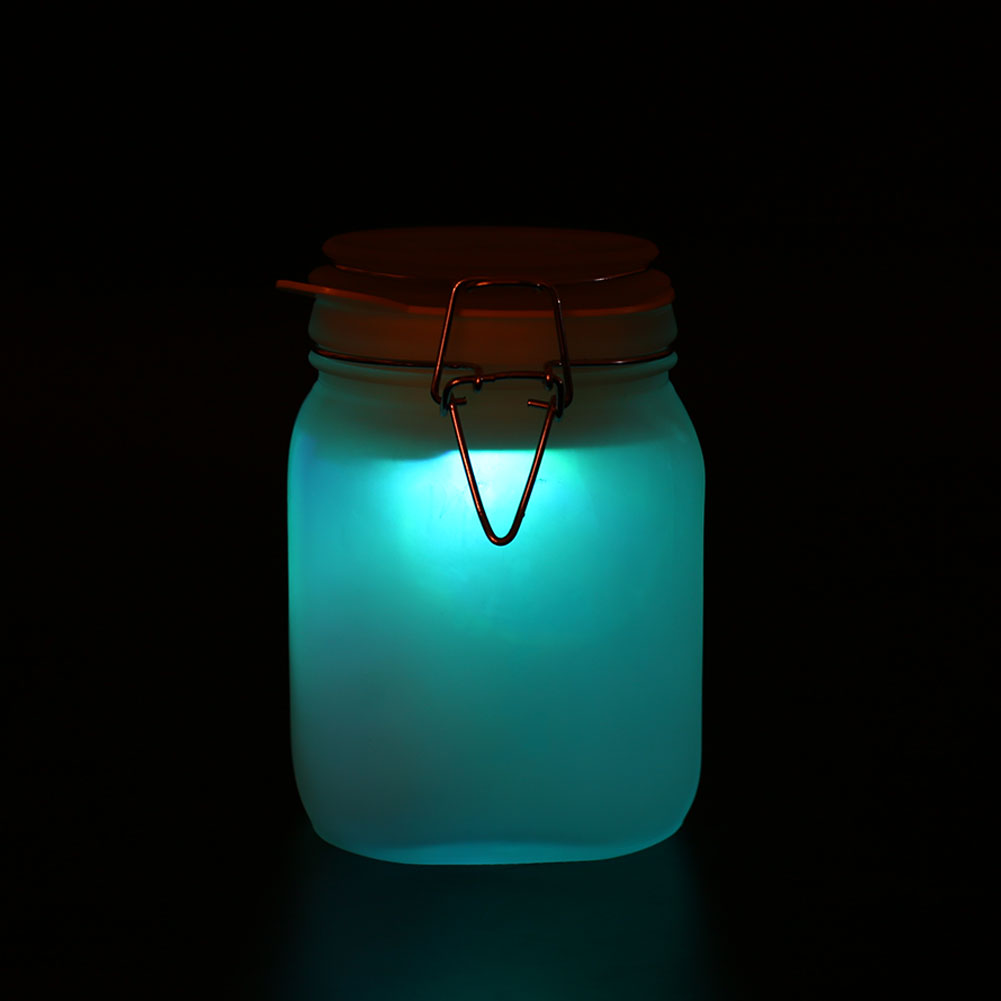 LED Colorful Solar Powered Glowworm Glass Pot Garden Gifts Party ...