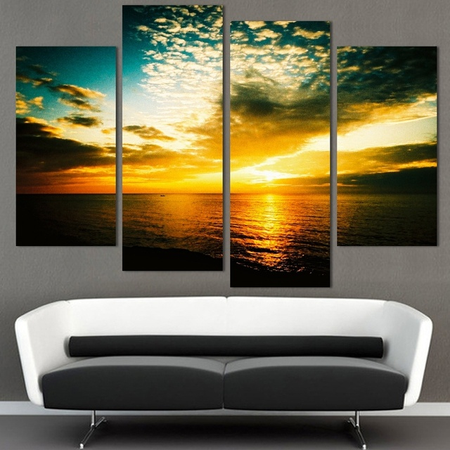 4 Panel Wall Art Seascape Picture HD Print Cloud Modular Oil ...