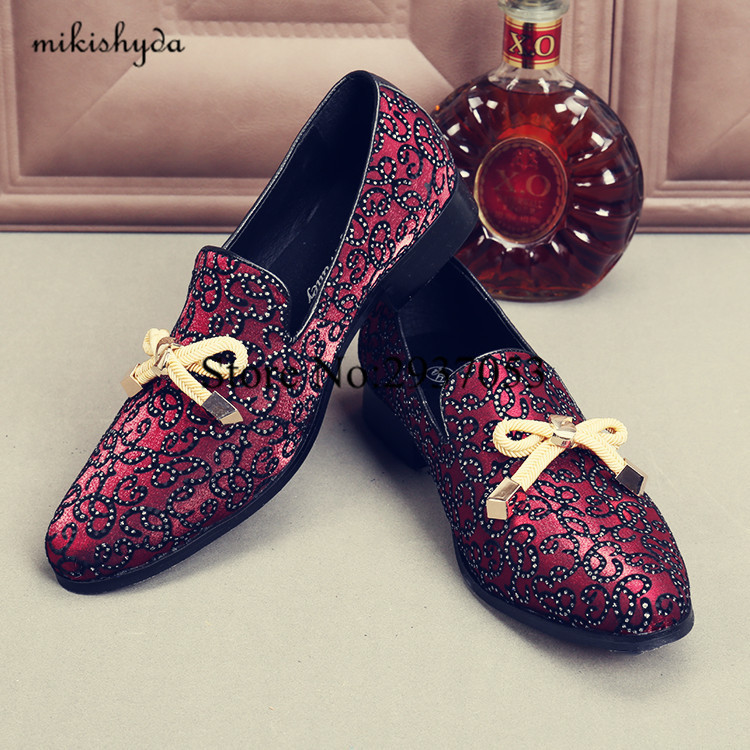 2017 Top Quality Men Shoes Luxury Wine Red Rhinestone Studded Men Loafers Bow Knot High Quality Men Loafers Wedding Flat Dress dreamshining high quality patent leather wine red women causal pointed toe shoes bow knot ladies flat loafers shoes