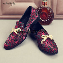 2017 Top Quality Men Shoes Luxury Wine Red Rhinestone Studded Men Loafers  Bow Knot High Quality Men Loafers Wedding Flat Dress a7c006cc0226