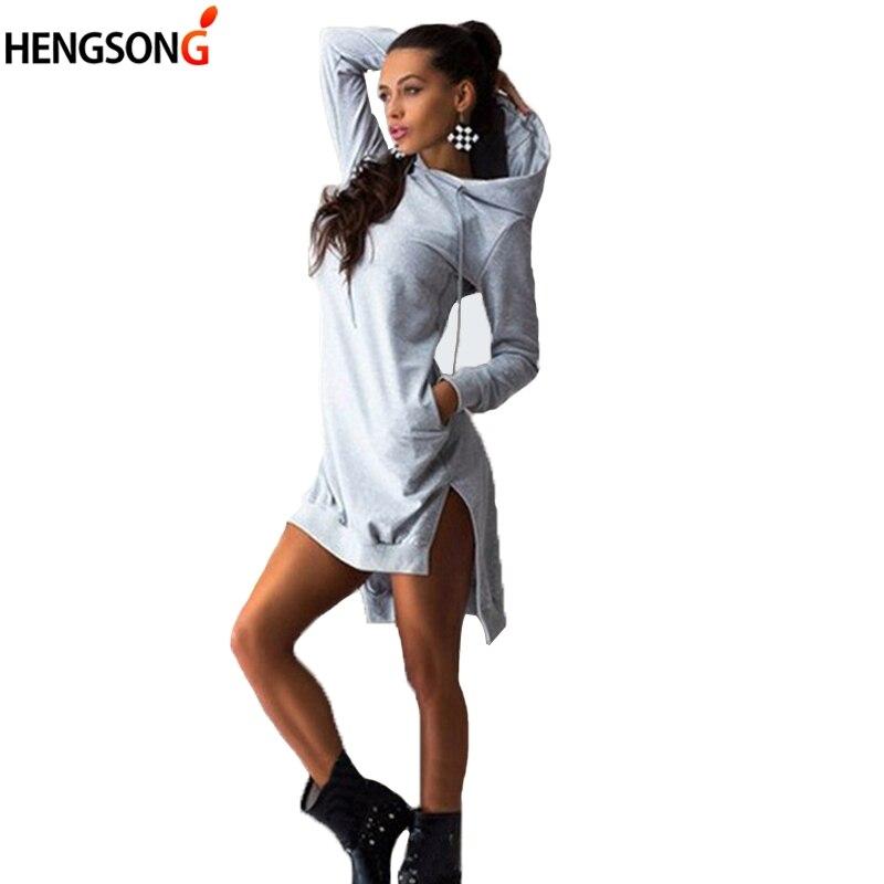 2017 Fashion Autumn Fleece Hoodies Women Hooded Sweatshirts Side Vent Split Knee Length Long Hoodie Dress Female Auutmn Vestidos