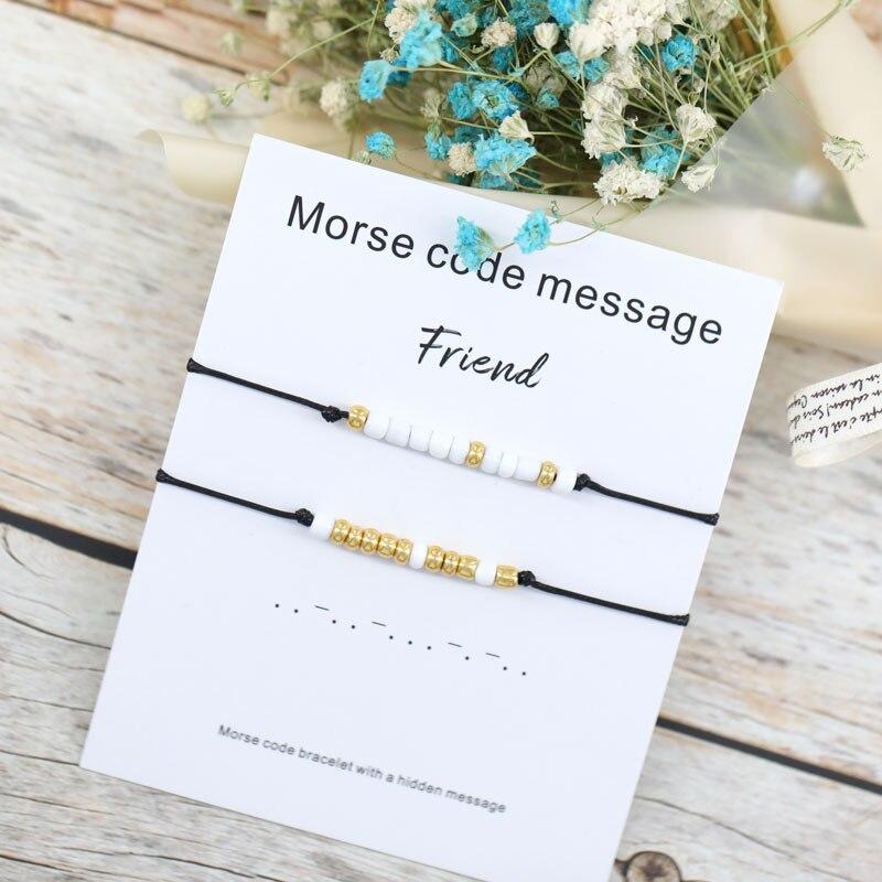 Набор из 2 штук браслетов с кодом Морзе, браслеты с подвесками, браслеты с кодом Морзе, украшения для подарка парню