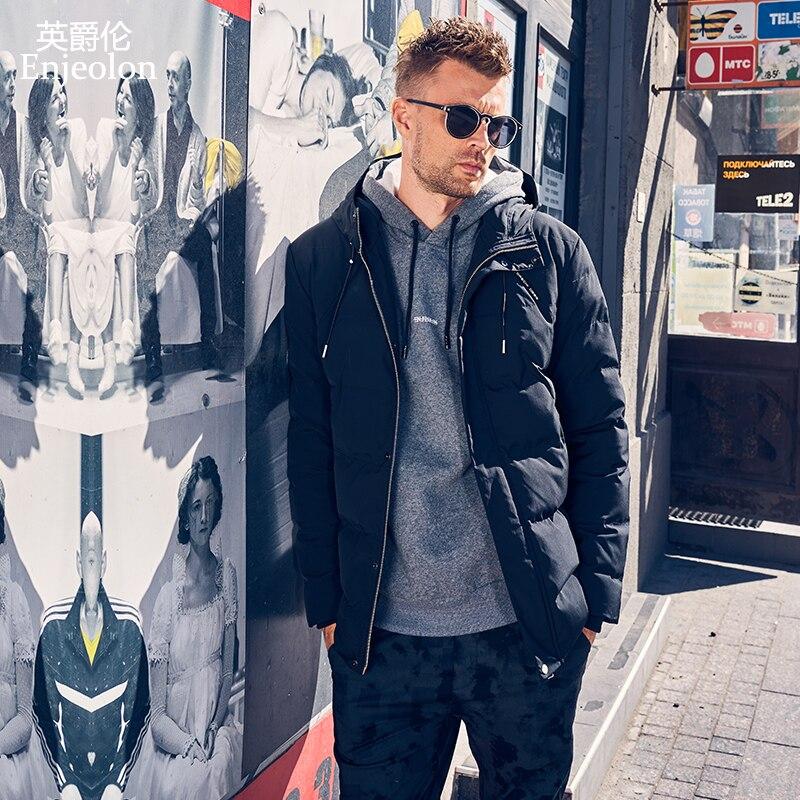 Enjeolon marka zima bawełny wyściełane kurtka z kapturem mężczyzn grube bluzy z kapturem płaszcz z kapturem mężczyzna pikowana kurtka zimowa płaszcz 3XL MF0730 w Parki od Odzież męska na  Grupa 1