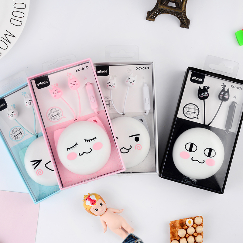 Phone Earphones & Headphones Lovely In-ear Earphones Facial Expression Cat Earphone Stereo 3.5mm With Microphone Headset For Iphone Xiaomi Mp3 Mp4 Gifts