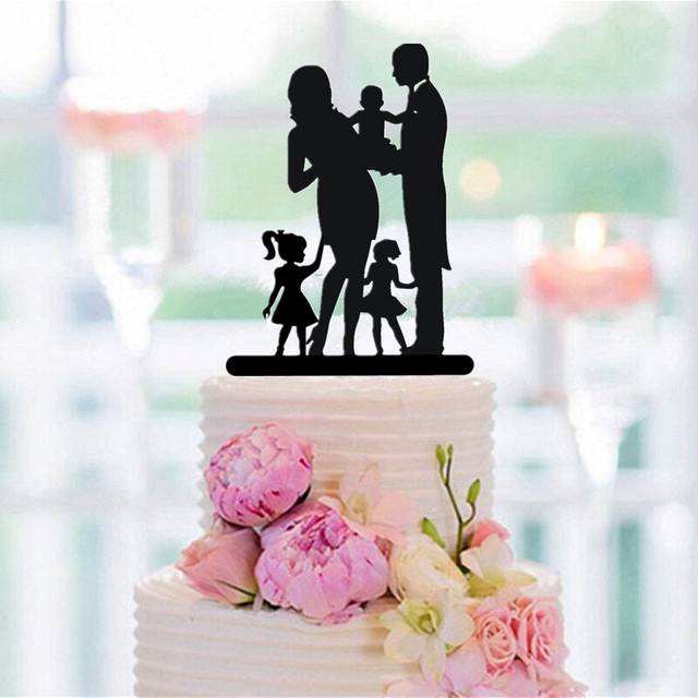 Family Cake Topper Bride and Groom with 2 Girls and 1 Child ...