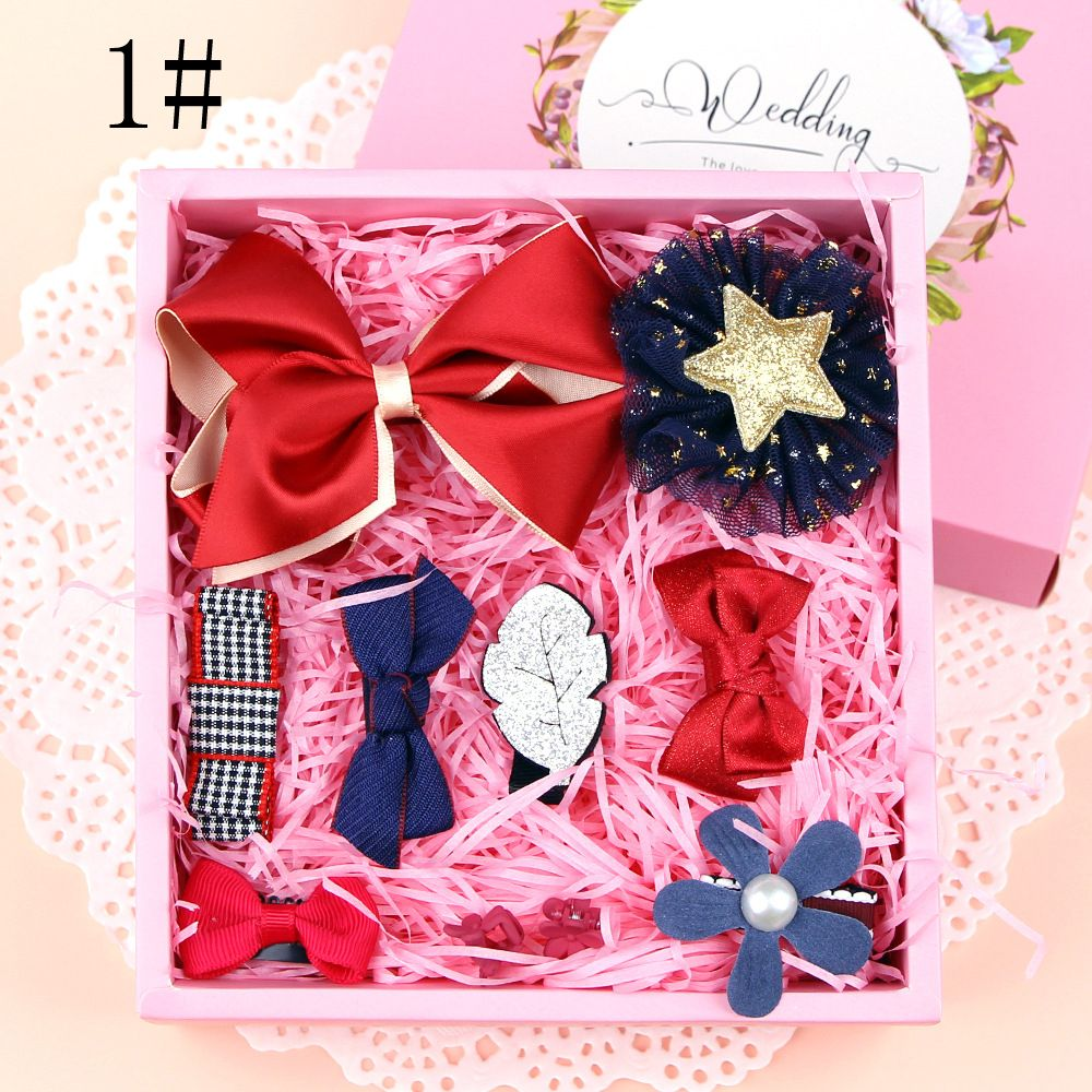 1 Set Lovely Grils Hair Bow Band Barrettes Ribbons DIY Crafts Kit Girls Headwear Children Hair Accessories Gift With Box