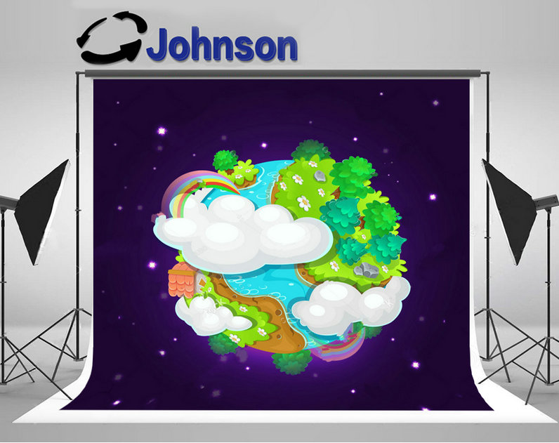 Colorful Cartoon Fantasy Planet Earth Space Islands Clouds Trees Rainbow backdrop Vinyl cloth Computer print wall background
