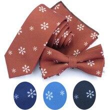 Снежинка галстук из полиэстера набор для мужчин тонкий галстук рождественские украшения галстук-бабочка Hankerchiref Papillon Свадебные банты Cravat Corbatas