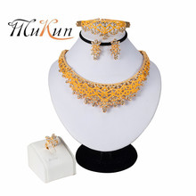 MUKUN 2019 NEW Nigerian Wedding African Beads Zinc Alloy Jewelry Sets Dubai Necklace Bracelet Earrings Ring