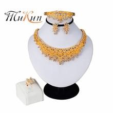 MUKUN 2019 NEW Nigerian Wedding African Beads Zinc Alloy Jewelry Sets Dubai Jewelry Sets Necklace Bracelet Earrings Ring Sets недорого