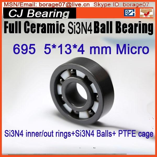 695 si3n4 619/5 5x13x4 mm  Full SI3N4 ceramic ball bearing free shipping 6806 full si3n4 p5 abec5 ceramic deep groove ball bearing 30x42x7mm 61806 full complement