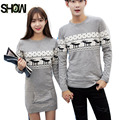 4 Colors S-XXL Winter Tops For Couples Clothing Sweater Casual Print Red Black Gray Knitting Matching Couple Sweaters For Lovers