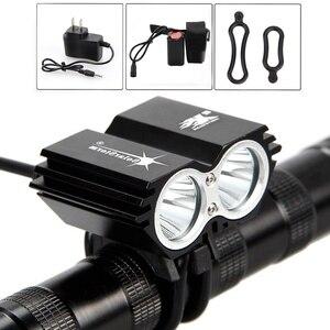 Solarstorm 5000lm 2x xm-l u2 led bicicleta luz lâmpada farol lanterna tocha (cor: preto)