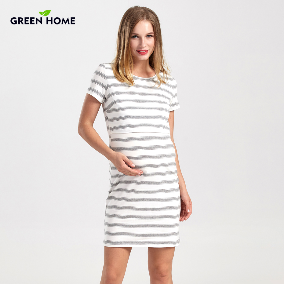 Green Home Striped Maternity Nursing Dress With High Quality Fabric ...