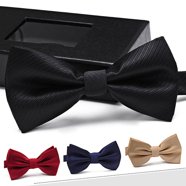 High Quality 2017 New Luxury Groom Wedding Bowtie Men's Solid Business Bow Tie Men Plaid Butterfly Neckties Striped Bowtie