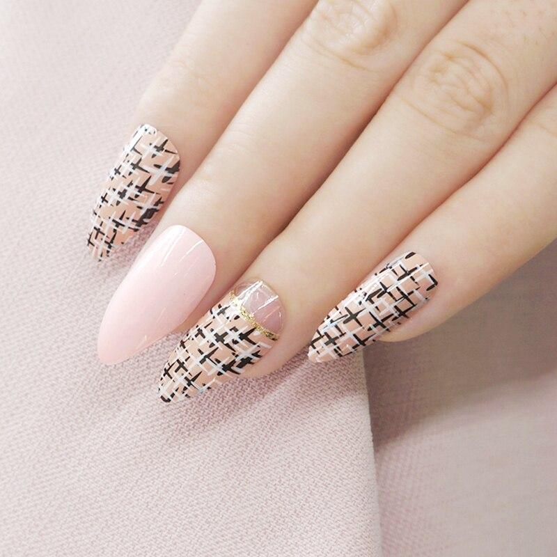Shiny Stiletto Nails Natural Pink Acrylic Fake Nails Black Khaki Cross DIY Nail Art Tips Full Cover Manicure Tools Z128