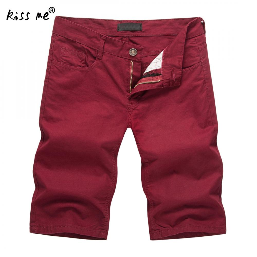 Men Shorts Summer Casual Compression Male Solid Wine Red Cargo Shorts Cotton Fashion Men Short Sweatpants 2018 Straight Shorts