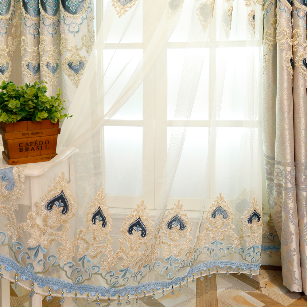 Embroidered Curtains for Living Dining Room Bedroom High class European style Luxury Villa Finished Curtains Drapes Window 50-in Curtains from Home & ...