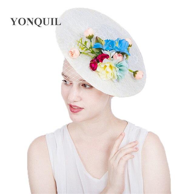 Women Silk flower top hats 30 CM big lace hats party occasion hat  fascinators with veils cbc8c5e4dd8
