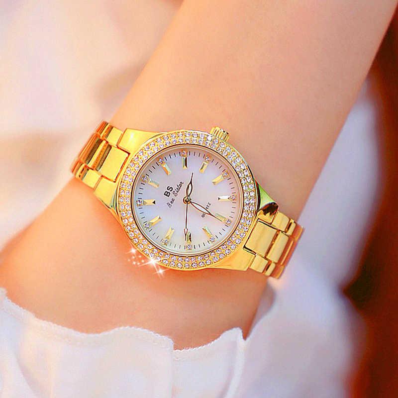יוקרה מותג ליידי קריסטל שעון נשים שמלה שעון יהלומי אופנה רוז זהב קוורץ שעונים נקבה נירוסטה שעוני יד