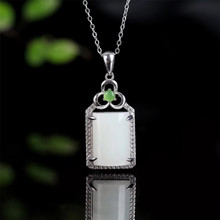 gemstone jewelry factory wholesale square 925 sterling silver plated natural jade pendant necklace for women natural green diopside stone pendant 925 sterling silver natural gemstone pendant necklace trendy chinese knot women jewelry
