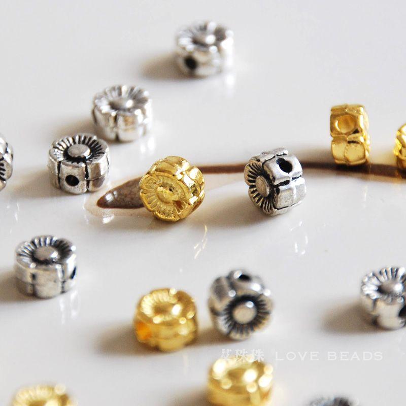 a7dcce736663 20 unids lote flor de la aleación de plata tibetana espaciador oro plata  6x3.5mm DIY pulsera del collar haciendo joyería artesanía resultados-