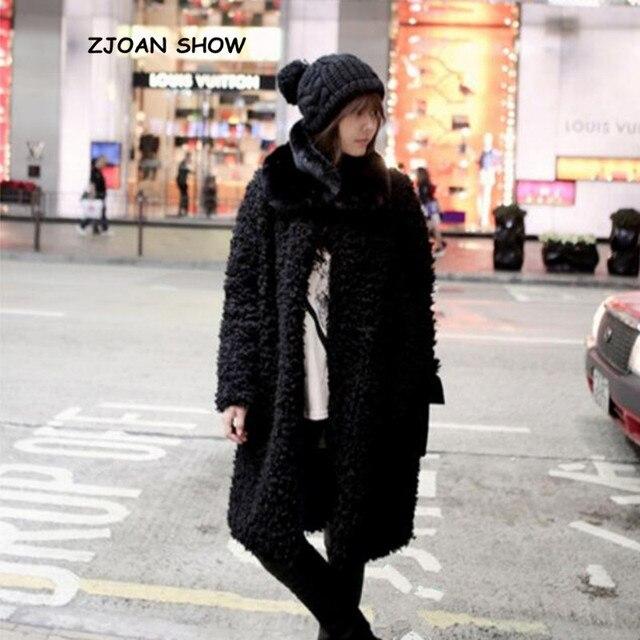 O pescoço do vintage encaracolado círculo peludo salsicha falso pele de ovelha casaco longo 2018 novo inverno manter quente longo jaqueta outwear coréia roupas