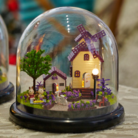 3D Handmade DIY Building Wood Puzzle Jigsaw Furniture Handcraft Miniature Box Kit With Cover LED Light
