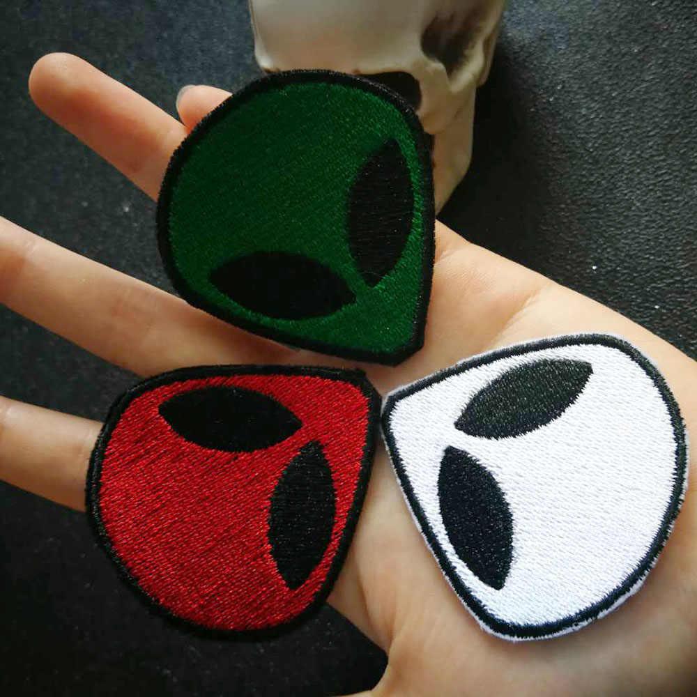 НЛО инопланетная голова вышивка patchRocker Железный На/нашивка на одежду куртка байкер патч для одежды жилет куртка шляпа для сумки, бейджи
