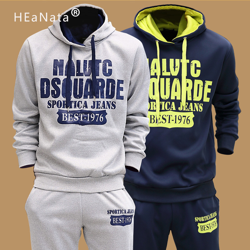 Two-Piece Track Suits Men 2019 Winter Autumn Fashion Sportswear Men Hooded Hoodies Sweatpants Gym Fitness Clothing Male 5XL