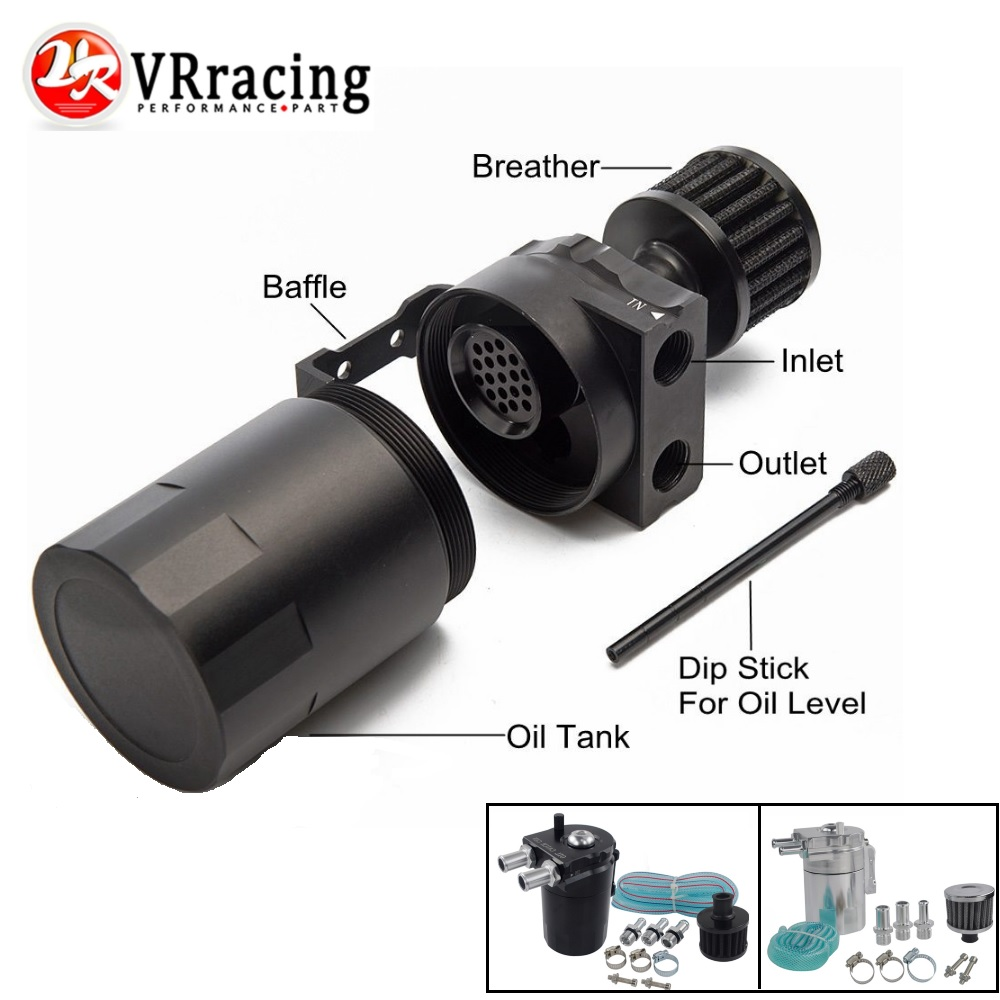 VR RACING - Baffled Aluminum Oil Catch Can Reservoir Tank / Oil Tank With Filter Universal VR-TK64