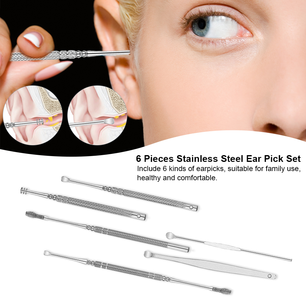 6pcs Stainless Steel Ear Pick Set Curette Ear Wax Remover Spiral Spring Earpick Ear Cleaner Health Care Tools Of Handle Design