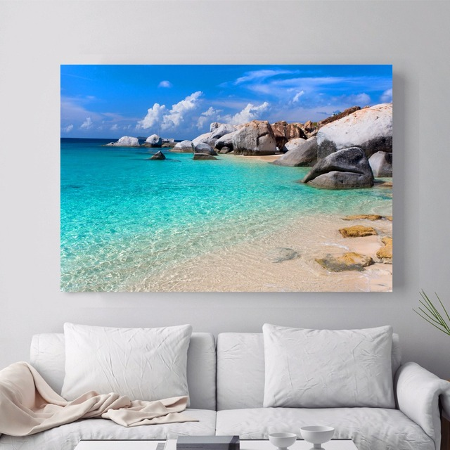wall beach 3d canvas decor painting landscape poster decoration frame zoom garden mouse