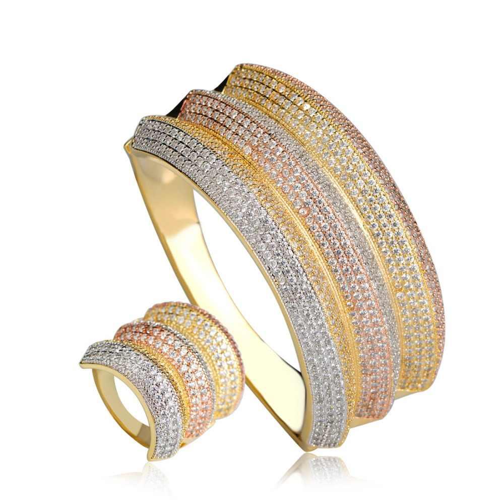 Dazz роскошные свадебные украшения комплекты три тона Большой Размеры браслет на запястье перстни полный кубический циркон Медь рукой ювелирные изделия