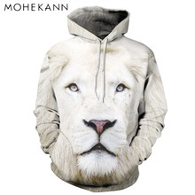 2017 Mohekann New Hoodies 3D Pattern White Lion Sweatshirts Leisure Couples Hoodies for Male and Female Jumper Tracksuit Tops