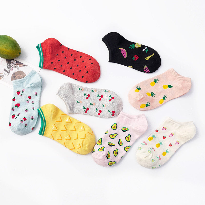 Cute Art   Socks   Cartoon Print Fruit Peach Strawberry Watermelon Banana Pattern Korean Harajuku Funny Meias