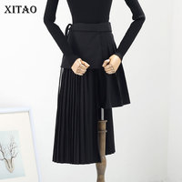 [XITAO] Casual Women 2019 Spring Korea Fashion New Arrival Asymetrical Skirt Female Solid Color Pockets Mid calf Skirt LYH2462