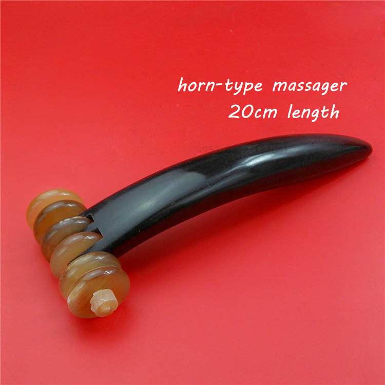 Full Body Massager 20cm Natural Ox Horn Massage Roller 6wheel Body Massaging Beauty Slimming Rolling Tool Health Care