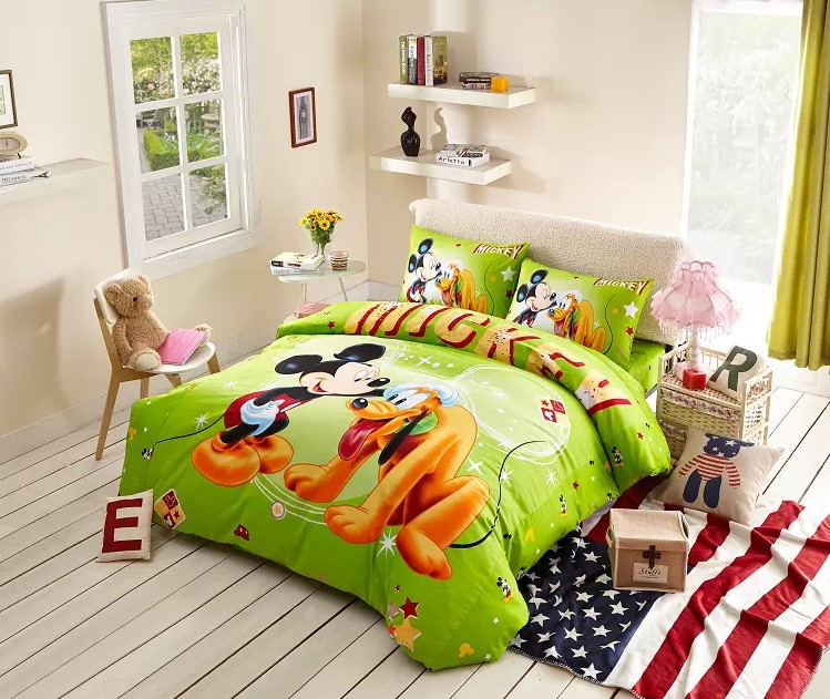 green mickey mouse boys bedding twin full queen king size comforter cotton quilt duvet covers