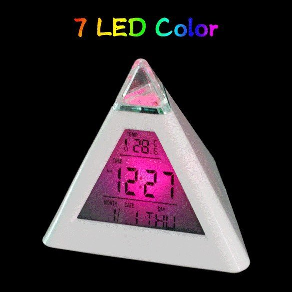 7 Color LED Pyramid Digital LCD Alarm Clock Thermometer Portable Color-Change