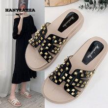Thick Heel Womens Summer Shoes Fashion Rivet Flat Slippers Casual Fashionable